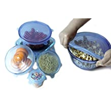 Blue Silicone Lids Six Pack, Cover Wrap, Preserve Food, Stretchable, Reusable, Dishwasher, Microwave and Freezer Safe