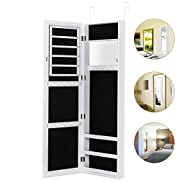 HERRON Jewelry Armoire with Mirror Door or Wall Mounted Jewelry Cabinet Organizer for Women,White