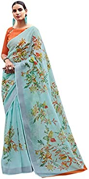 Sarees for Women Cotton Silk Printed Saree | Ethnic Traditional Indian Wedding Gift Sari with Unstitched Blous