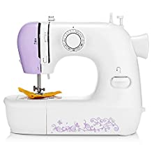 Sewing Machine, Mini Electric Household Automatic ThreadSew Machine Tool with Foot Treadle, Light Lamp, 12 Stitches for Shoes, Handcraft, Pets and Kids Clothes (White with Purple Flower)