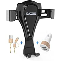 Eazoo Gravity Car Phone Auto Mount Holder for Air Vent, Smart Port Car Charger, Lightning and Micro USB Cable Set for iPhone X 8 8S 7 7 Plus Samsung Galaxy S8 Plus Edge LG and more Driver Accessories