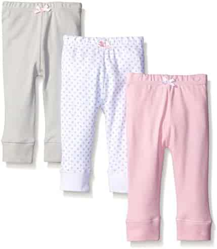 Luvable Friends Baby Girls' 3 Pack Tapered Ankle Pants