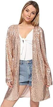 ANNA-KACI Women's Open Front Sequin Coat Las Vegas Blazer Party Club Cocktail Jacket Outer