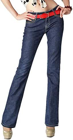 Youtobin Women Classic Blue Mid-rise Slim Waist Denim Pants Flared Jeans