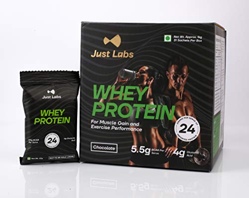 Just Labs 100% Whey Protein for Muscle Gain, Exercise Performance and Fat Loss – (1kg/2.2 lbs, 31 Single Serve No-Contact Sealed Pouches) Rich Chocolate (24g Protein per Serve)
