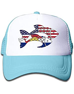 Two Fish Colorado Flag On Children's Trucker Hat, Youth Toddler Mesh Hats Baseball Cap