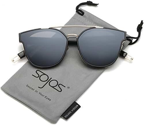 SojoS Classic Mirrored Square Sunglasses for Men and Women Double Bridge SJ2038