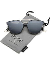 SojoS Gafas De Sol Unisex Doble Puente Marco Delgado Metal Rectangular SJ2038