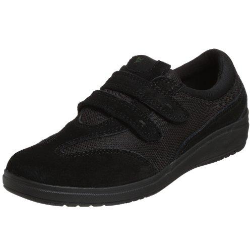 Grasshoppers Women's Stretch Plus Velcro Sneaker,Black,7 M US