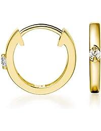 Hoop Earrings 14K Gold Plated Sterling Silver Small Cubic Zirconia Cute Huggie Earrings For Women And Girl