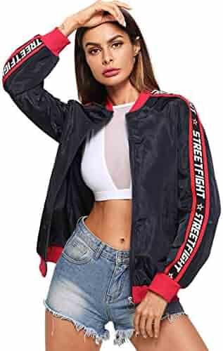 e4347fcaae SheIn Women's Long Sleeve Lightweight Letter Windbreakers Zip up Bomber  Jackets