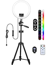 12-inch RGB Selfie Ring Light - Tripod Stand & 2 Phone Holder Lights Dimmable 17 Colors & 4 Flash Modes Remote Control for Makeup   Live Streaming   Video   YouTube   Tiktok   Photograph