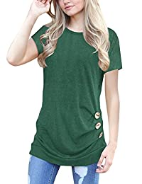 Simaier Women's Casual Round Neck T-Shirt Loose Splice Short Sleeve Tops Blouse
