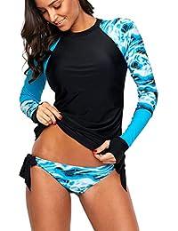 189a0e5ca4 Womens Long Sleeve Rashguard Shirt Color Block Print Tankini Swimsuit