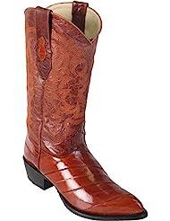 Genuine EEL SKIN COGNAC J-TOE Los Altos Mens Western Cowboy Boot 990803