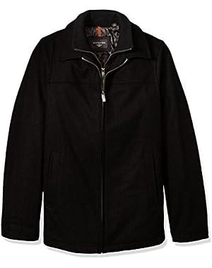 Men's Tall Size Wool Melton Laydown Collar Jacket with Bib
