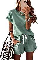 KIRUNDO 2021 Women's Tie Dye Print Pajama Set Short Sleeve Tee and Shorts 2 Piece Outfit Sleepwear Sets Loungewear Pjs