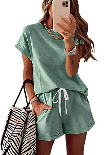KIRUNDO 2021 Women's Tie Dye Print Pajama Set Short Sleeve Tee and Shorts 2 Piece Outfit Sleepwear Sets Loungewear Pjs