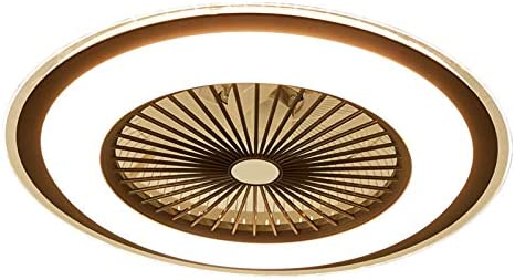 Gdrasuya10 Ceiling Fan Chandelier 23Inch, SYF-C008 Flush Mount Pendent Fans Lamp Invisible Ceiling Fan with Lights SMD LED Remote Control Lighting Fixture 3 Color Dimmable (Brown)