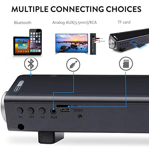 [New 2019 Upgraded] ASIYUN 2 X 5W Mini Bluetooth Sound Bar, Wired and Wireless Home Theater Audio for Cell Phone/Tablet/Projector and Support TV with AUX/RCA Output (Remote Control Included)