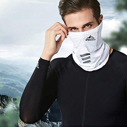 Cooling Neck Gaiter Face Mask, Drawstring Bandanas Face Cover Cool Neck Wraps for Summer Heat Fit Men & Women, Great Fishing Hunting Running Cycling (Gray+White)