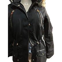 YMI New Outerwear Black Color Fur Lining Anorak Drawstring Hoodie Jacket Coat