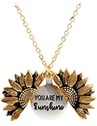 You are My Sunshine Engraved Necklace Memorial Sunflower Locket Necklace