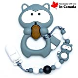 Teether Raccoon With Pacifier Clip (Grey) / High Quality Silicone, Handmade in Canada