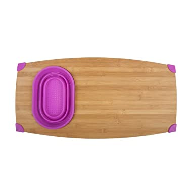 Core Bamboo Corner-Grip Over-the-Sink Cutting Board, Magenta