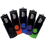 XinwaY 32GB USB 2.0 Flash Drives Thumb Drive Memory Stick Jump Drive Swivel Design, (5 Pack Five Colors: Black Blue Green Orange Purple)