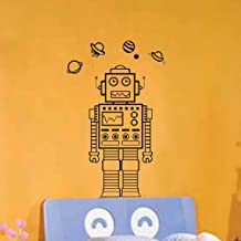 Olivia DIY Funny Auto Robot Automaton Android Decoration Wall Stickers Home Decals for Kids Bedroom Living Room Bathroom Baby Nursery Black Vinyl Decal Mural Family Decor
