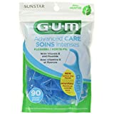 GUM Advanced Care Flossers, Fresh Mint Dental String Floss Picks, Vitamin E & Fluoride, 90 Count