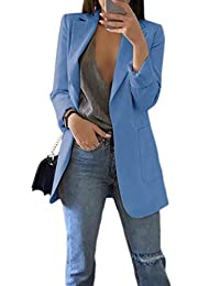 Zilcremo Womens Slim Fit Blazer Work Suit Casual Open Front Office Coat Jacket