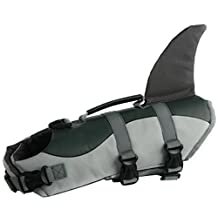 Cosplay Dog Life Jacket Vest Professional Pets Swimming Training Clothes with Lift Assist Handle Mermaid Shark Clown (M, Shark)