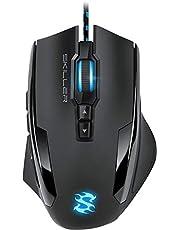 Sharkoon Skiller SGM1 Gaming muis met macrotoetsen (10800 dpi, RGB-verlichting, 12 toetsen, Weight-Tuning-System en software) zwart