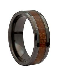 8mm Black Ceramic Wedding Ring Acacia Koa Wood Inlay Comfort Fit
