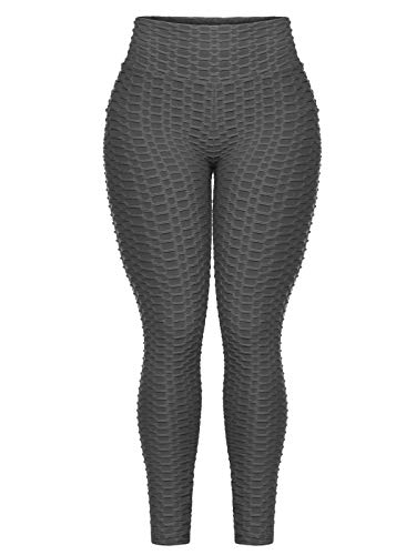 Beyondfab Women's High Waist Textured Butt Lifting Slimming Workout Leggings Tights Charcoal SM