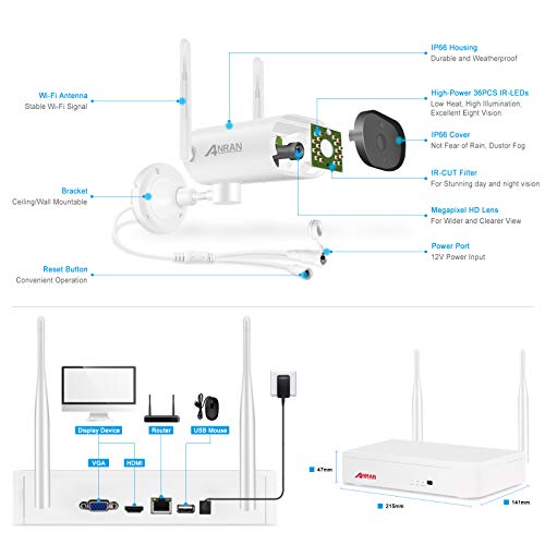 【3MP Pan with Audio】ANRAN CCTV Camera Systems Wireless 4CH 1536P 1TB NVR Recorder CCTV System with 4Pcs 3MP HD Waterproof Outdoor Surveillance Bullet Cameras Kit