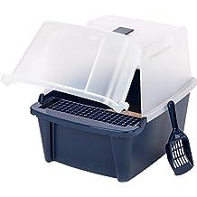 IRIS Split-Lid Hooded Litter Box w/ Scoop / Paw Cleaning Grid, Large, Navy