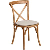 Flash Furniture HERCULES Series Stackable Oak Wood Cross Back Chair with Cushion