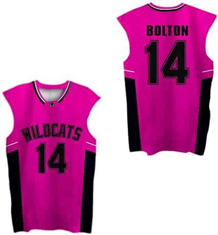 29c828c9b5b6 borizcustoms Zac E Troy Bolton 14 East High School Wildcats Patch Basketball  Jersey Stich Red