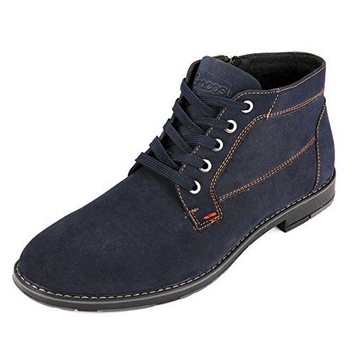 Botas para Hombre Botines Desert Boot, Gracosy Hombre Tobillo Cómodo Cuero Combate Botas Pelaje Forrado Botines casuales de ante de invierno Zapatos Desgastada con Cordones Azul