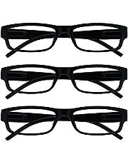 The Reading Glasses Company Zwarte Lichtgewicht Comfortabele Lezers Waarde 3 Pack Designer Stijl Mens Womens UVR3PK032+1.00
