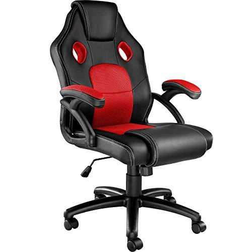 tectake 800770 Silla Gaming, Ergonomica, Ordenador PC Ejecutiva, Asiento Deportivo PVC, Altura Ajustable, 5 Ruedas Dobles -varios Colores (Negro-Rojo | No. 403452)