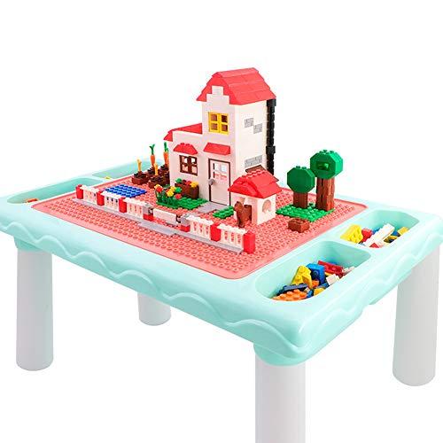 Los ninos juegan Tabla Bloque de construccion Mesa, Mesa de comedor de bebe Jigsaw Tabla, 300 ladrillos de construccion Pcs oblicuos bloques, Fuerte Capacidad de carga,Azul