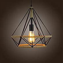 Hemp Rope Diamond Chandelier, Motent Industrial Vintage Retro Pyramid Shaped Birdcage Loft Island Lampshade Iron Wrought Wire Cage Pendant Lighting Fixture for Boutique Basement Bar - 17.7 inches Dia