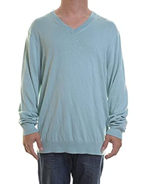 Solid V-neck Sweater Sea Foam Blue size XL