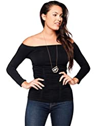 Last Tango Womens 3/4 Sleeve 3 Panel Ruched Off Shoulder Flattering All Figures Top