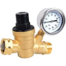 Esright Brass Water Pressure Regulator Lead-free with Gauge for RV Camper Adjustable Water Pressure Regulator (NH threads)