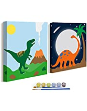 ColorOki 2-Pack Paint by Numbers Kit for Kids, Easy DIY Number Painting Set for Boys, Beginner, Framed Canvas 8X8IN